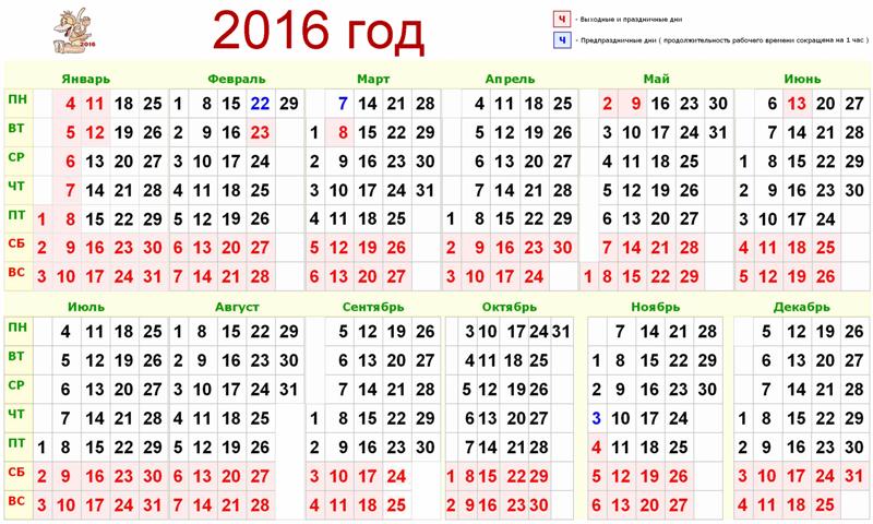 календарь года 2016 картинки
